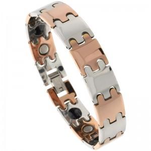2-Tone Gun Metal & Rose Gold Bar Links Tungsten Carbide bracelets