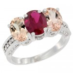 14K White Gold Natural Ruby & Morganite Sides  3-Stone Ring  with Diamond Accent