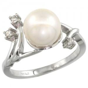 14k White Gold Diamond Vine Pearl Ring
