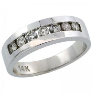 14k White Gold 7-Stone Men's Diamond Ring Band