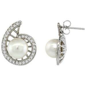 14K White Gold Swirl Pearl -Diamond Earrings