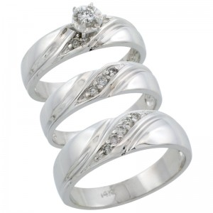 14K White Gold 3-Piece Trio His & Hers Diamond Wedding Ring Band