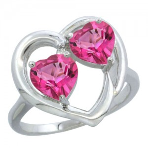 14k White Gold 2-Pink Topaz Stone Heart Ring with Diamond Accent