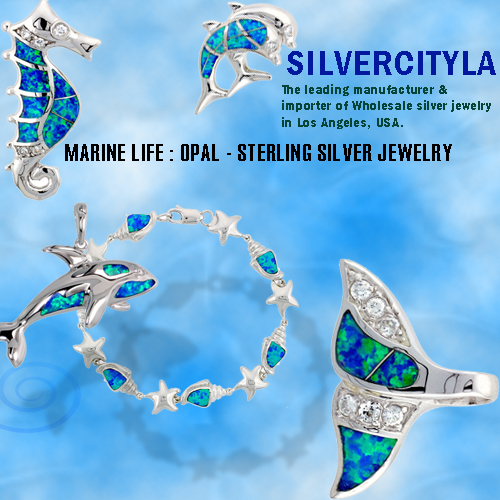 STERLING SILVER – MARINE ANIMALS SYNTHETIC OPAL JEWELRY