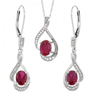 Natural ruby Pendant and earring