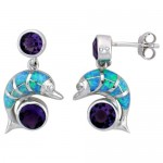 Sterling Silver Dolphin Earring with Lab created Opal inlay