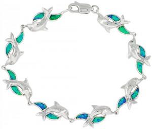 Opal dolphin Sterling silver bracelet