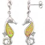 Sea horse dangle opal earring