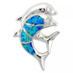 Sterling Silver Dolphin Pendant with Lab created Opal inlay