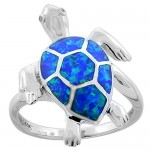 Turtle Synthetic opal ring