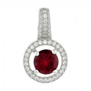 Sterling Silver Micro Pave Round Shape Pendant