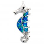 Sterling Silver Seahorse Pendant, Synthetic Opal Inlay & CZ stones