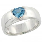 Sterling Silver Blue Topaz 1 ct Heart Ring Band 1/4 inch wide