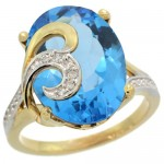 14k Gold Natural Swiss Blue Topaz Ring 16x12 mm Oval Shape Diamond Accent, 5/8 inch wide