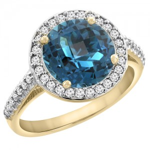 14K Yellow Gold Natural London Blue Topaz Ring Round 8mm Diamond Halo