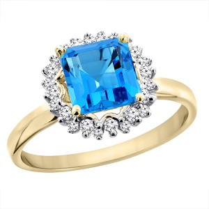 14K Yellow Gold Natural Swiss Blue Topaz Ring Square 6x6 mm Diamond Accents