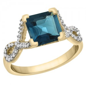 14K Yellow Gold Natural London Blue Topaz Square 7x7 mm Diamond Accents