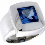 Sterling Silver Blue Topaz Cubic Zirconia Solitaire Ring Princess Cut 4 ct