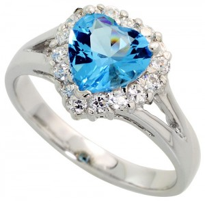 Sterling Silver Blue Topaz Cubic Zirconia Ring Heart Shape Rhodium finish