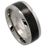 Carbon Fiber Center Inlay Titanium Wedding Band