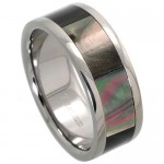 8mm  Mother of Pearl Inlay - Titanium Wedding Band