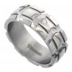 Carved Truck Tire Pattern Comfort-fit Wedding Band