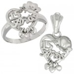 Sterling Silver Quinceanera 15 Anos Butterfly Triple Hearts Ring & Pendant Set