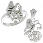 Sterling Silver Quinceanera 15 Anos Butterfly Ring & Pendant Set CZ Stones Rhodium Finished