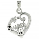 Sterling Silver Quinceanera 15 Anos Fancy Heart Cut-out Charm