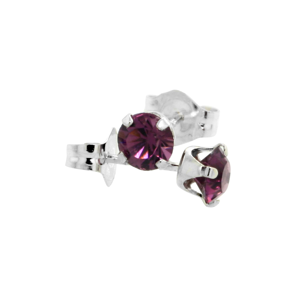Sterling Silver February Birthstone Stud Earrings with Amethyst Color Swarovski Crystals 4 mm 1/2 ct total