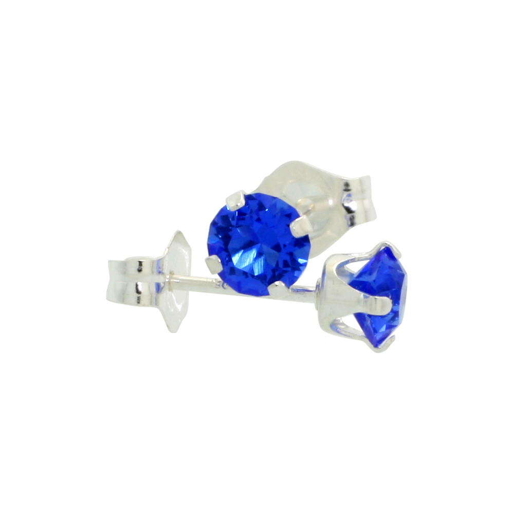 Sterling Silver September Birthstone Stud Earrings with Blue Sapphire Color Swarovski Crystals 4 mm