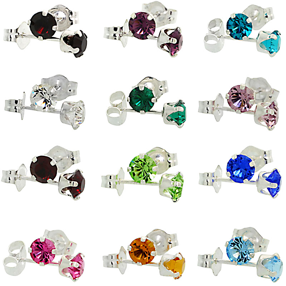 12 pair Set Sterling Silver 4mm Round Birthstone Colors Crystal Stud Earrings with Swarovski Crystals 1/2 ct total