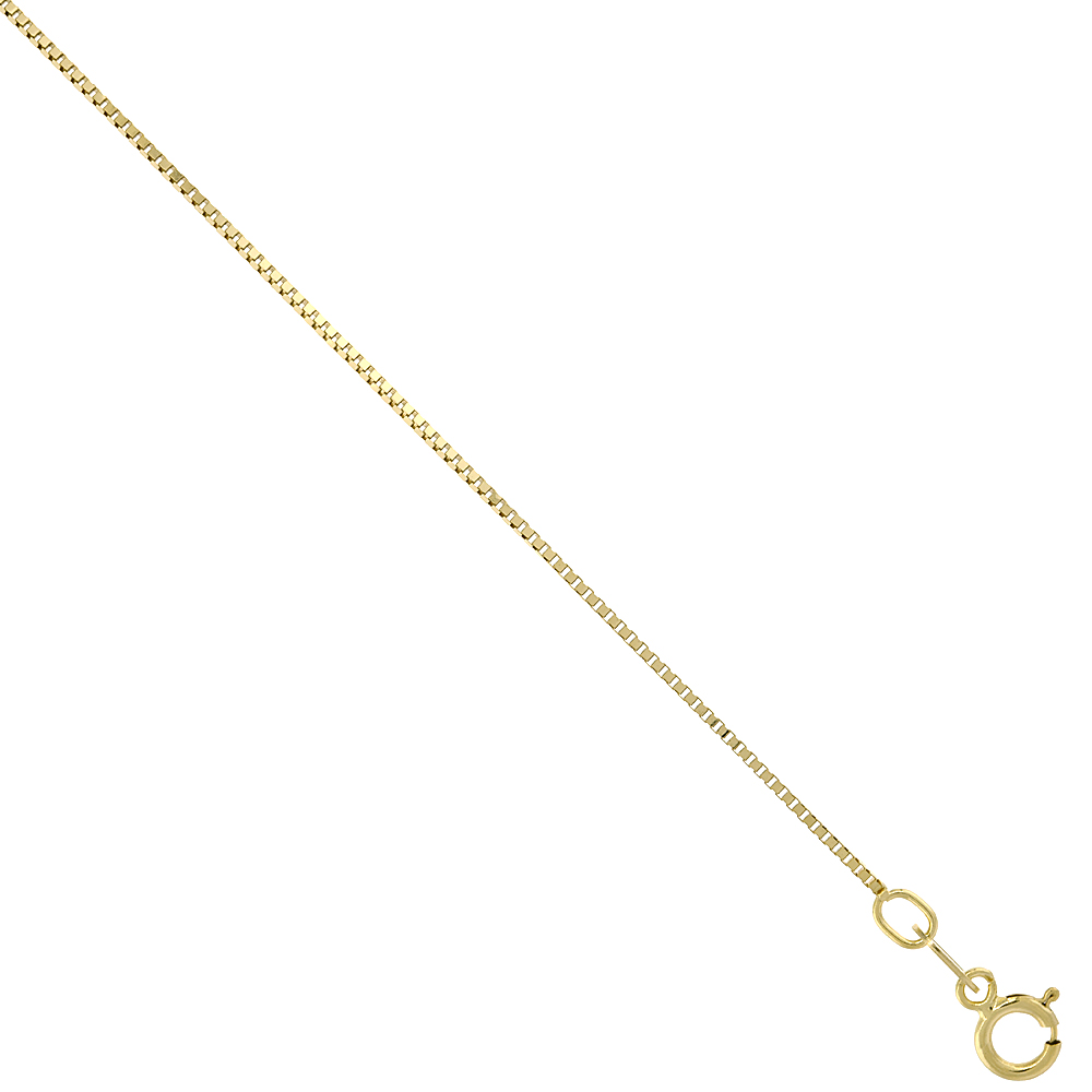 10K Solid Yellow Gold BOX Chain Necklace 0.66 mm Nickel Free, 16-24 inches long