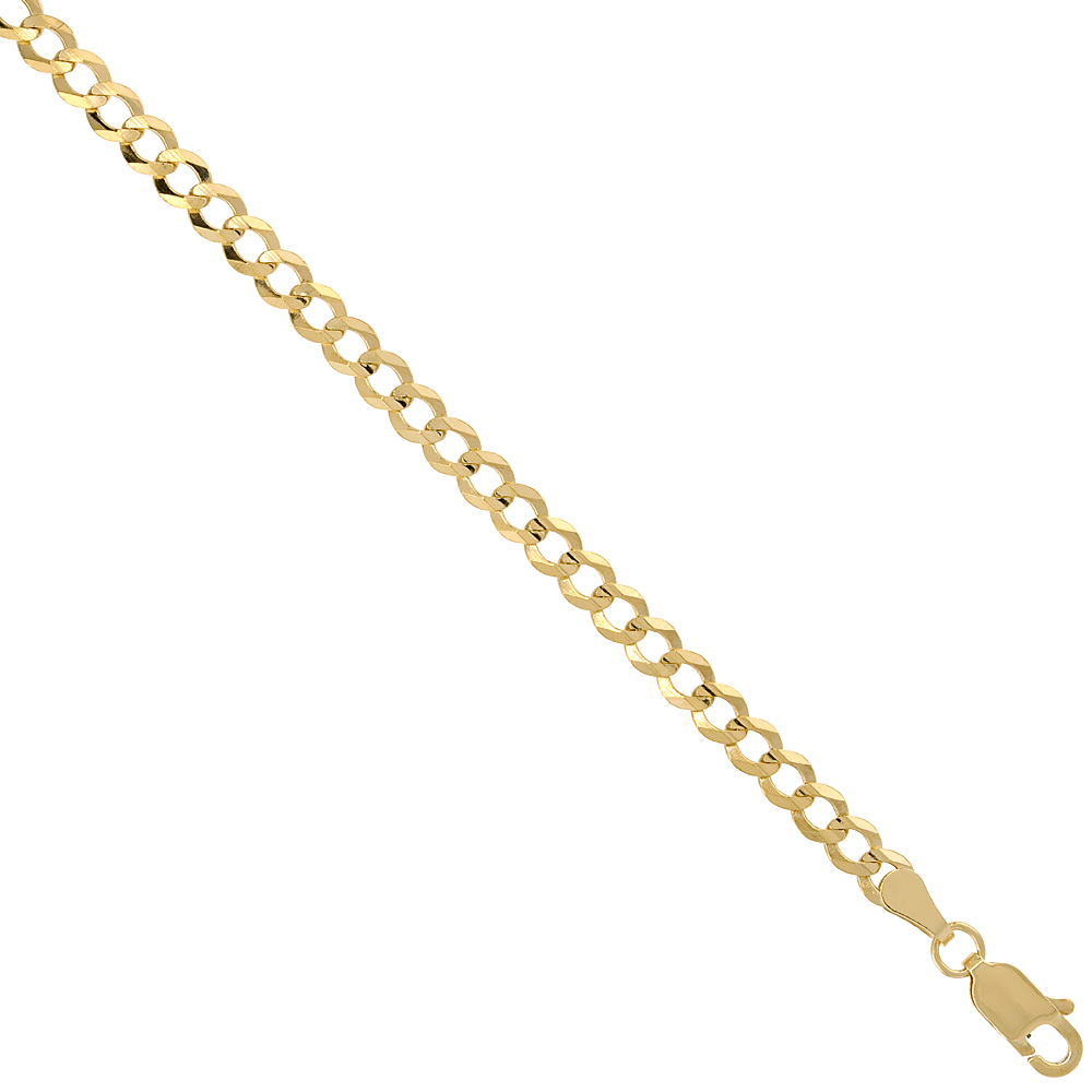 10K Yellow Gold 4mm Cuban Curb Chain Necklace Concaved Nickel Free, 16 - 30 inch