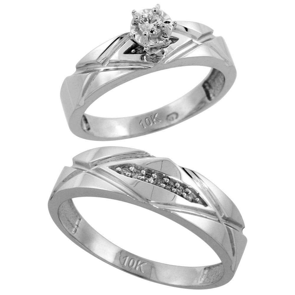 Sterling Silver 2-Piece Diamond Ring Set ( Engagement Ring & Man's Wedding Band ), w/ 0.10 Carat Brilliant Cut Diamonds, ( 5mm; 6mm ) wide
