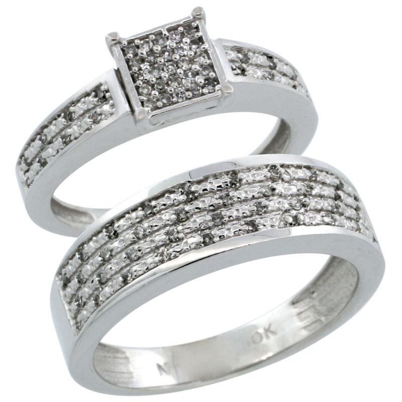 14k White Gold 2-Piece Diamond Ring Band Set w/ Rhodium Accent ( Engagement Ring & Man's Wedding Band ), w/ 0.27 Carat Brilliant Cut Diamonds, ( 3.5mm; 6.5mm ) wide