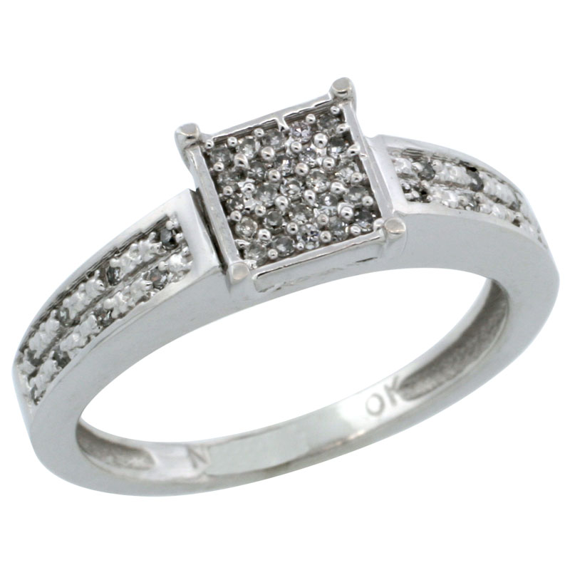 14k White Gold Diamond Engagement Ring w/ 0.145 Carat Brilliant Cut Diamonds, 1/8 in. (3mm) wide
