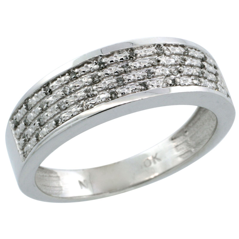 14k White Gold Men's Diamond Ring Band w/ 0.12 Carat Brilliant Cut Diamonds, 1/4 in. (6.5mm) wide