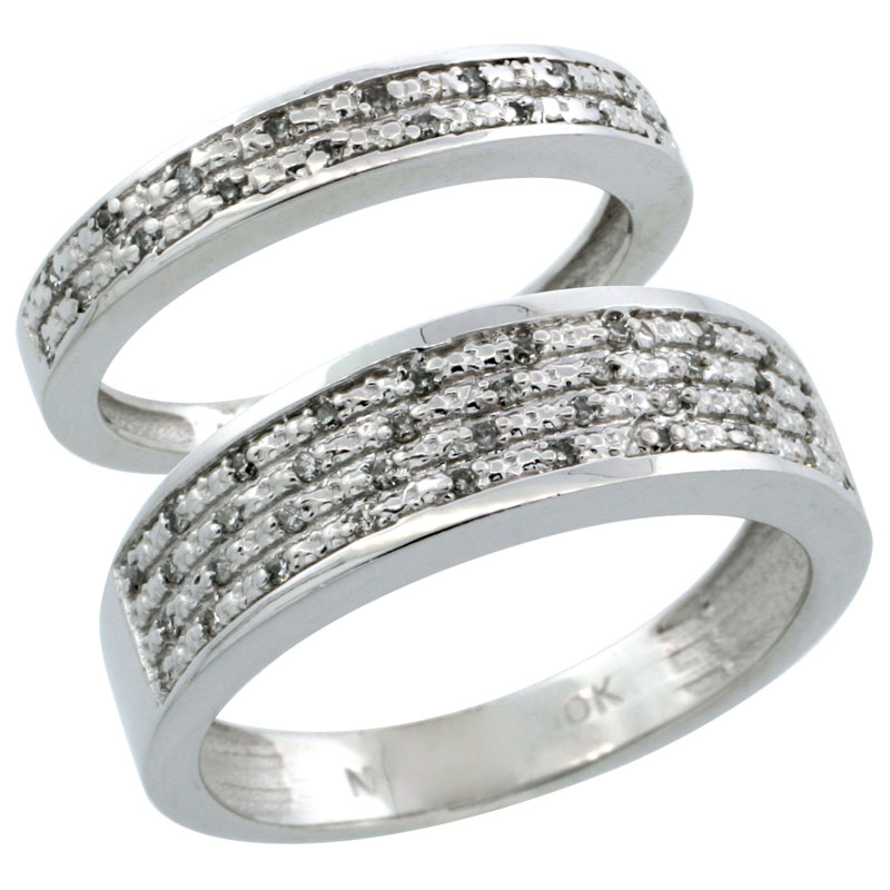 14k White Gold 2-Piece His (6.5mm) & Hers (3.5mm) Diamond Wedding Ring Band Set w/ 0.18 Carat Brilliant Cut Diamonds; (Ladies Size 5 to10; Men's Size 8 to 14)