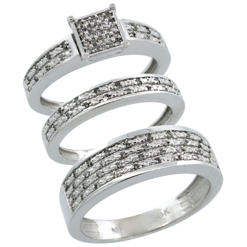 14k White Gold 3-Piece Trio His (6.5mm) & Hers (3.5mm) Diamond Wedding Ring Band Set w/ 0.328 Carat Brilliant Cut Diamonds; (Ladies Size 5 to10; Men's Size 8 to 14)