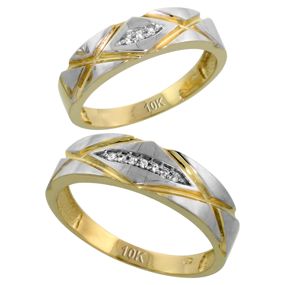 10k Yellow Gold Diamond Wedding Rings Set for him 6mm and her 5mm 2-Piece 0.06 cttw Brilliant Cut, ladies sizes 5 � 10, mens sizes 8 - 14