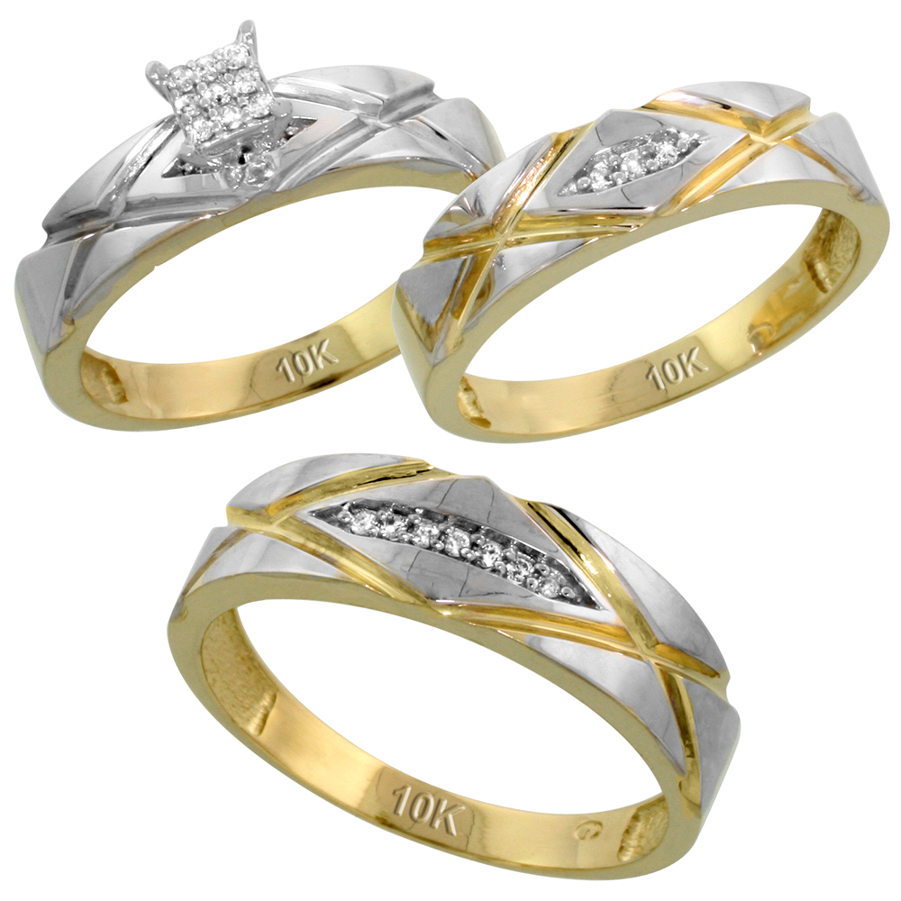 10k Yellow Gold Trio Engagement Wedding Ring Set for Him and Her 3-piece 6 mm & 5 mm wide 0.12 cttw Brilliant Cut, ladies sizes 5 � 10, mens sizes 8 - 14