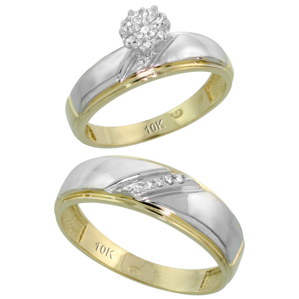 10k Yellow Gold Diamond Engagement Rings Set for Men and Women 2-Piece 0.07 cttw Brilliant Cut, 5.5mm & 7mm wide