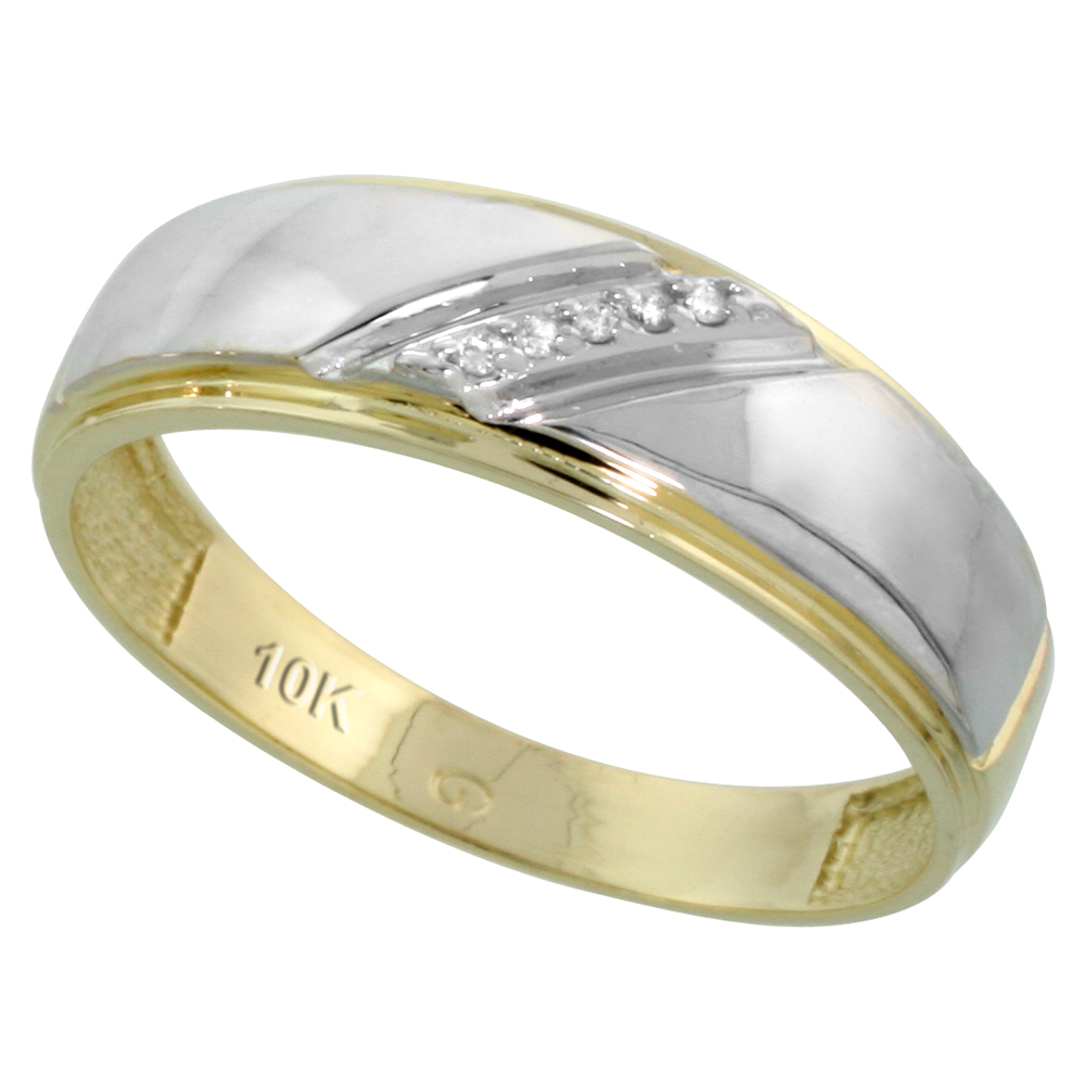 10k Yellow Gold Mens Diamond Wedding Band Ring 0.03 cttw Brilliant Cut, 1/4 inch 7mm wide