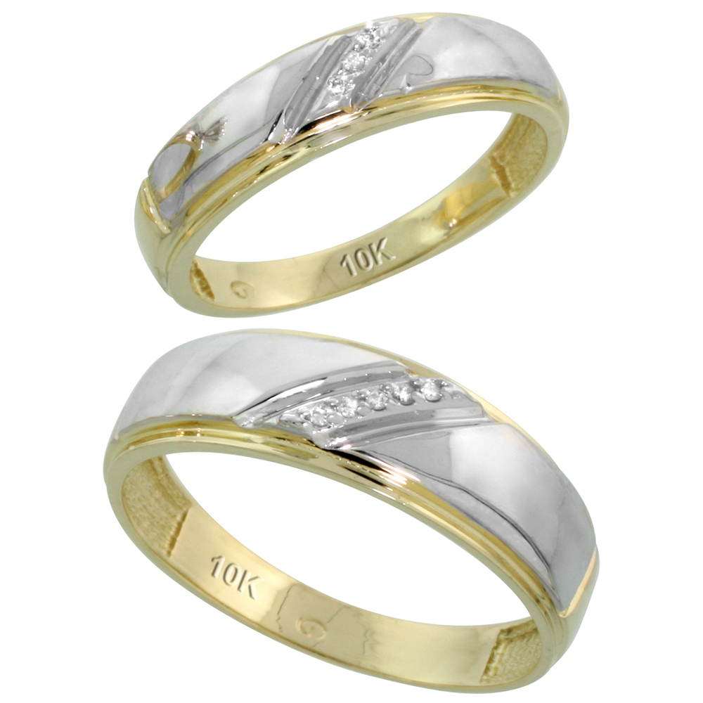 10k Yellow Gold Diamond Wedding Rings Set for him 7 mm and her 5.5 mm 2-Piece 0.05 cttw Brilliant Cut, ladies sizes 5 � 10, mens sizes 8 - 14