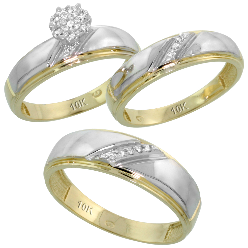 10k Yellow Gold Diamond Trio Engagement Wedding Ring Set for Him and Her 3-piece 7 mm & 5.5 mm wide 0.09 cttw Brilliant Cut, ladies sizes 5 � 10, mens sizes 8 - 14