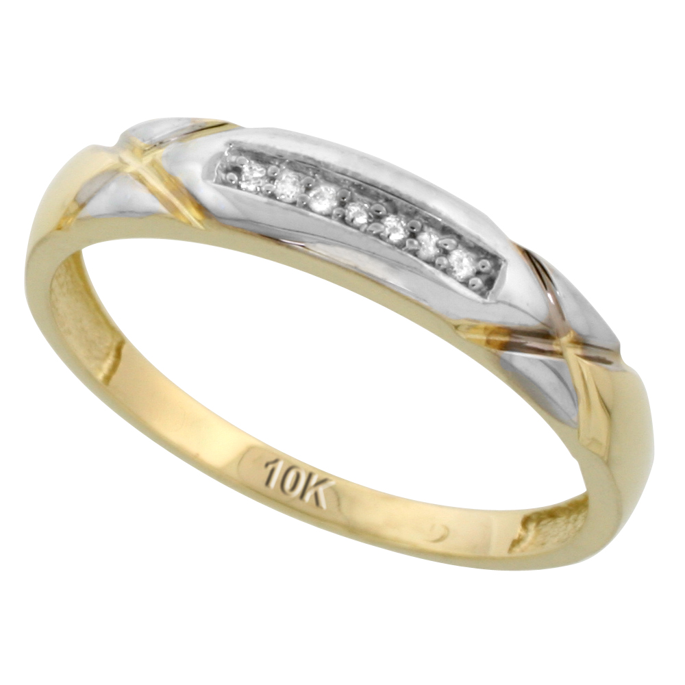 10k Yellow Gold Mens Diamond Wedding Band Ring 0.04 cttw Brilliant Cut, 3/16 inch 4mm wide
