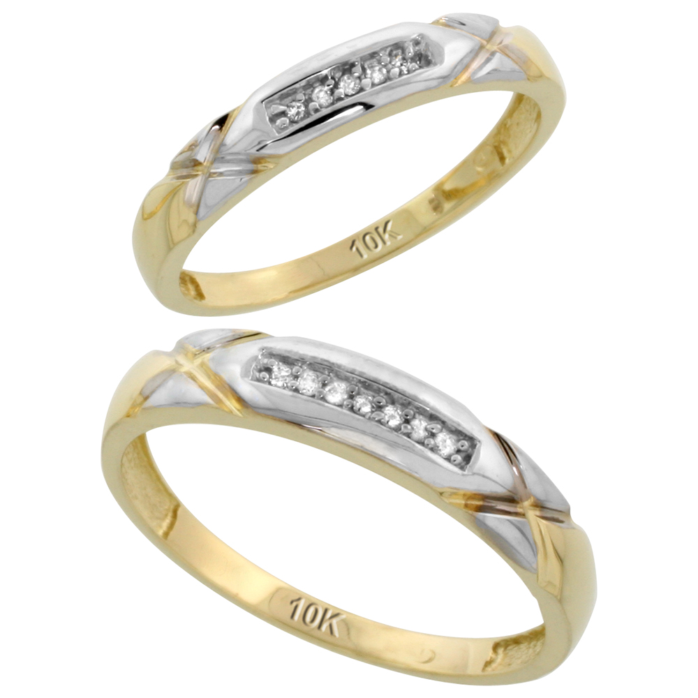 10k Yellow Gold Diamond Wedding Rings Set for him 4 mm and her 3.5 mm 2-Piece 0.07 cttw Brilliant Cut, ladies sizes 5 � 10, mens sizes 8 - 14