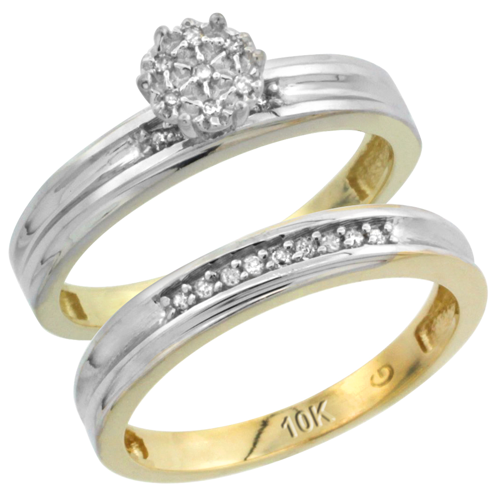 10k Yellow Gold Diamond Engagement Ring Set 2-Piece 0.07 cttw Brilliant Cut, 1/8 inch 3mm wide