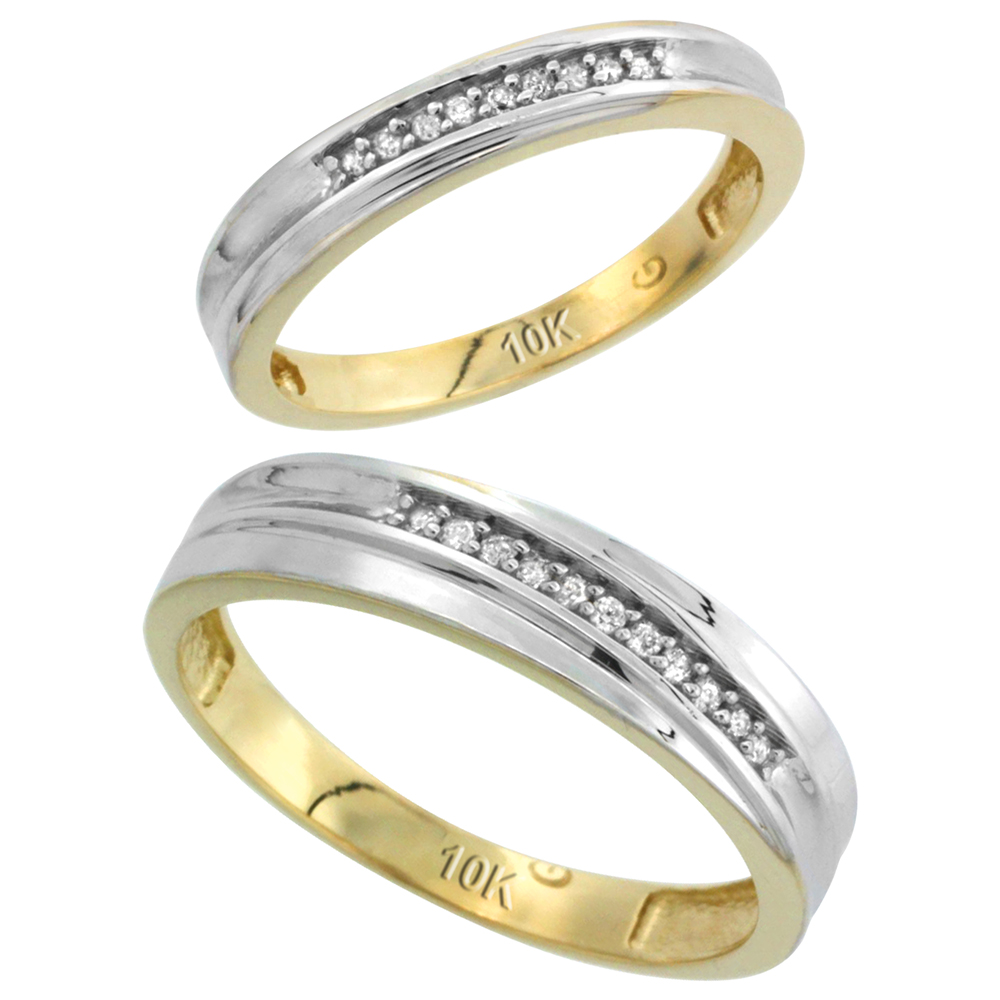10k Yellow Gold Diamond Wedding Rings Set for him 5 mm and her 3 mm 2-Piece 0.06 cttw Brilliant Cut, ladies sizes 5 � 10, mens sizes 8 - 14